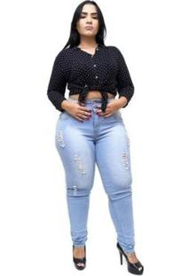 Calça Jeans Latitude Plus Size Com Elástico Alina Feminina - Feminino-Azul