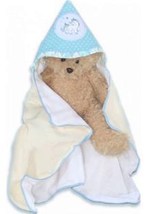 Toalha De Banho I9 Baby Com Capuz Unicórnio Azul - 1 Peça Azul