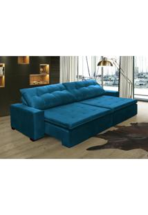 Sofá Retrátil Reclinável, Oklahoma 2,42M, Molas E Pillow No Assento Tecido Suede Azul - Cama Inbox