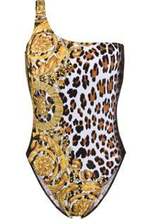 Versace Maiô Animalier Com Estampa Barroca - Dourado