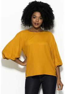 2de6afac6 Blusa Amarela Colcci feminina. Blusa Amarela Em Crepe Manga Bufante