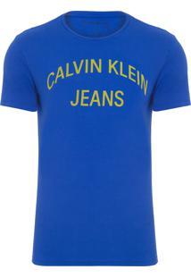 Camiseta Masculina Estampa Logo Curva - Azul