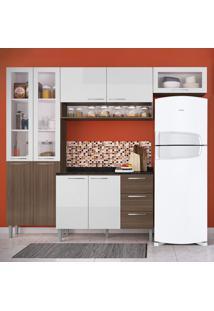 Cozinha Compacta 9 Portas Heloisa 0425T Castanho/Branco - Genialflex