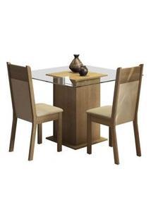 Conjunto Sala De Jantar Madesa Lau Mesa Tampo De Vidro Com 2 Cadeiras Rustic/Crema/Pérola Rustic