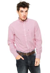 Camisa Tommy Hilfiger Texturizada Vermelha/Branca