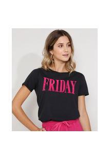 "Camiseta Feminina Manga Curta Friday"" Flocada Decote Redondo Preta"""