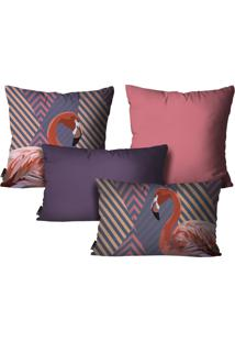 Kit Mdecore Com 4 Capas Para Almofadas Flamingo Roxo