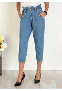 Calça Jeans Claro Com Elástico No Cós E Bolsos