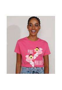 Camiseta Feminina Manga Curta Pantera Cor De Rosa Decote Redondo Rosa