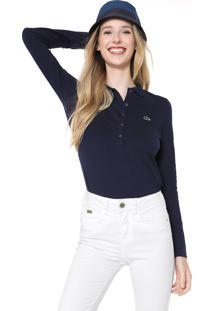 Camisa Polo Lacoste Slim Logo Azul-Marinho