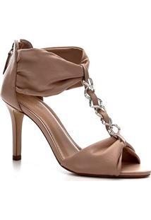 Sandália Shoestock Couro Glam Chain - Feminino-Nude