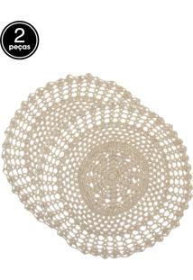 Jogo Americano 2Pçs Copa E Cia Circular Crochet Bege