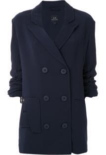 Armani Exchange Blazer Com Fechamento Duplo - Azul