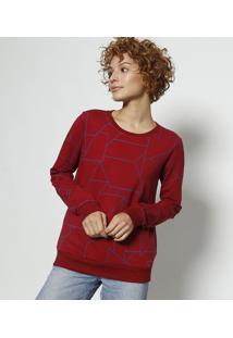 d90f22bbe2 ... Blusão Geométrico- Vermelho Escuro   Azulmalwee