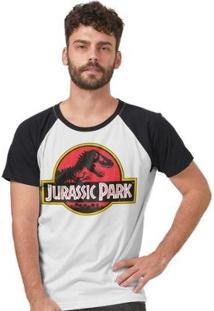 Camiseta Raglan Jurassic Park Logo Masculina - Masculino-Branco+Preto