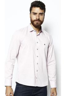 Camisa Slim Fit Geométrica - Rosa Claro & Azul Marinhovip Reserva