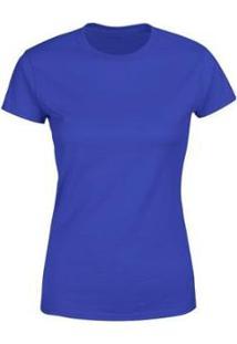 Camiseta Goup Supply Lisa Básica Premium 100% Algodão Feminina - Feminino-Azul Royal