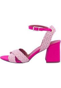 Sandália Com Corda Natural Salto Flare Mahasa Feminina - Feminino-Pink