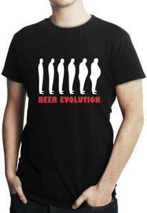Camiseta Criativa Urbana Engraçadas Beer Evolution - Masculino-Preto