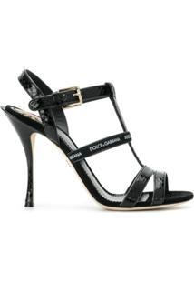 Dolce & Gabbana Sandália 'Keira' De Couro E Pele De Cobra - Preto