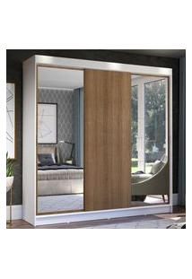 Guarda-Roupa Casal Madesa Istambul 3 Portas De Correr Com Espelhos 3 Gavetas - Branco/Rustic Branco