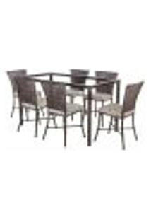 Jogo De Jantar 6 Cadeiras Turquia Pedra Ferro A10 E 1 Mesa Retangular Sem Tampo Ideal Para Área Externa Coberta