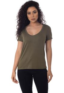 T-Shirts Daniela Cristina Gola V Profundo 10269 5 Verde - Verde - Feminino - Dafiti