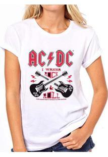 Camiseta Coolest Acdc Feminina - Feminino-Branco