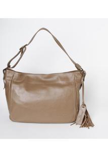 Bolsa Em Couro Edu Bolsas® Com Bag Charm- Marrom Claro