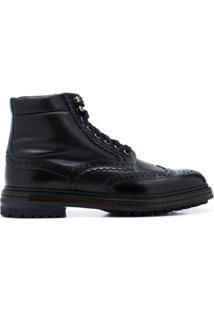 Santoni Ankle Boot Com Detalhe Brogue - Preto