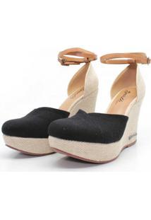 Sandalia Barth Shoes Espadrille Lona - Preto