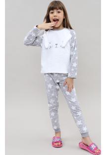 """Pijama De Inverno Infantil """"Coelhinho"""" Em Fleece Manga Longa Cinza Claro"""