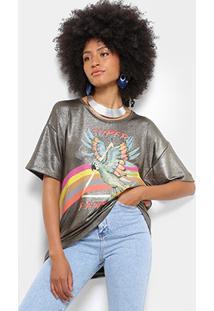 Camiseta Farm Lurex Super Fantástica Feminina - Feminino-Dourado