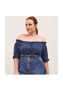 Blusa Ombro A Ombro Com Amarração Frontal Curve & Plus Size | Ashua Curve E Plus Size | Azul | Gg