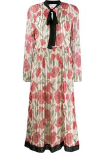 Red Valentino Poppy Print Silk Dress - Neutro