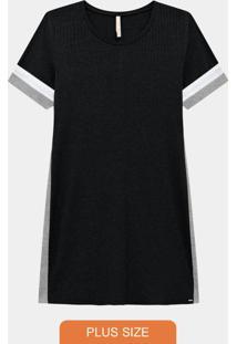 Vestido Plus Size Curto Canelado Preto