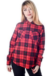 Camisa Xadrez Vermelho Manga Longa (, Gg)
