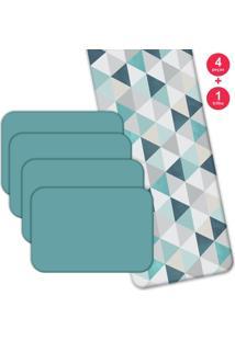 Jogo Americano Love Decor Com Caminho De Mesa Wevans Green Triangle Kit Com 4 Pçs + 1 Trilho