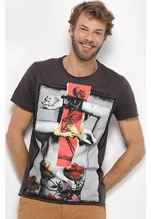 Camiseta Derek Ho Floral Masculina - Masculino-Chumbo