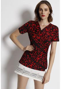 7589d6d21 ... Blusa Com Transpasse Arabescos- Preta & Vermelha- Sisimple Life