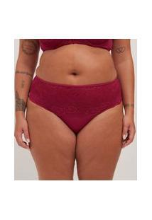 Calcinha Poliamida Liso Com Renda Curve E Plus Size Vermelho
