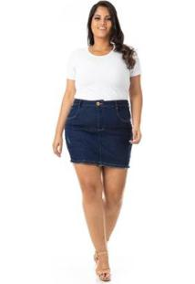 Shorts Saia Jeans Com Lycra Plus Size Confidencial Extra Feminino - Feminino-Azul