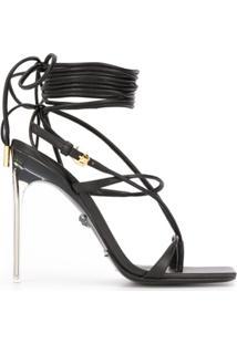 Versace Sandália Com Amarração - Preto