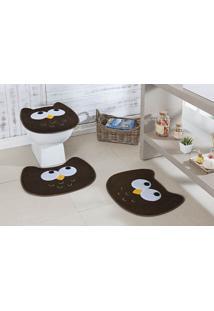 Jogo De Banheiro Premium Formato Coruja Café Guga Tapetes