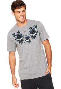 Camiseta Mcd Floral Print Cinza