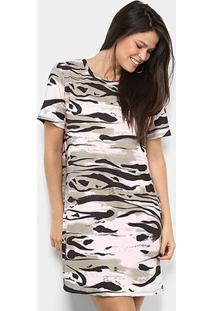 Vestido Lança Perfume T-Shirt Amplo - Feminino-Cinza+Preto