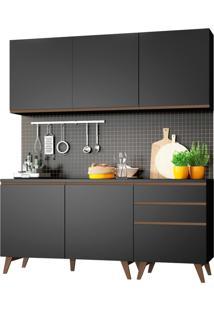 Cozinha Compacta Madesa Reims Com Balcão - 5 Portas 3 Gavetas Preto