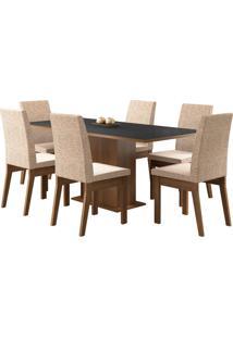 Sala De Jantar Madesa Cecília Mesa Tampo De Madeira Com 6 Cadeiras