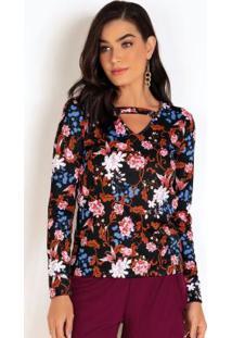 Blusa Gola Choker Floral