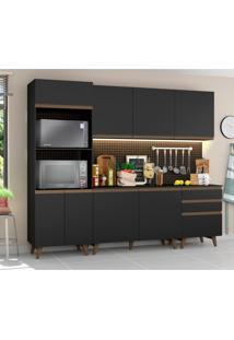 Cozinha Completa Madesa Reims Com Balcão - 8 Portas 3 Gavetas Preto